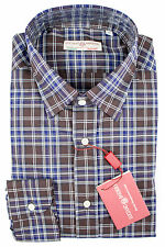 New LUCIANO BARBERA Italy Brown Blue Plaid Cotton Dress Shirt M 15 1/2 NWT $395!