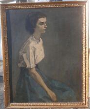 "Girl in White Blouse 27 1/2"" x 21 1/2"" Oil Painting-1970s-Lambro Ahlas"