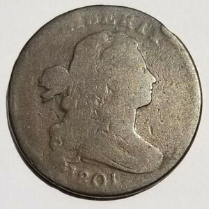 1801 DRAPED BUST LARGE CENT 1/000 S-220 ERROR FRACTION GOOD BEAUTIFUL COIN!