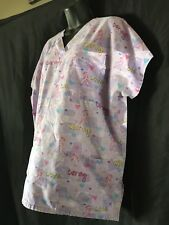 SB Fashion On SCRUB TOP XL Extra Large Violet With Pink Ribbon & Positive Words