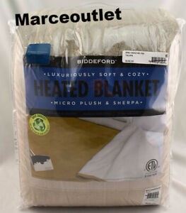 Biddeford Micro Plush & Sherpa Heated Blanket QUEEN Taupe
