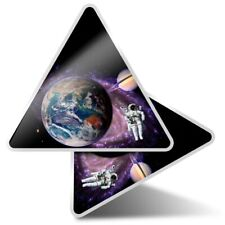 2 x Triangle Stickers 10 cm - Astronaut Earth Saturn Space  #2498