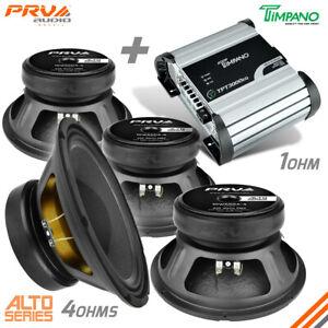 """Timpano TPT3000EQ 1 Ohm 3600W Amp + 4x PRV 10W650A-4 Midbass 10"""" Speakers 4 Ohm"""