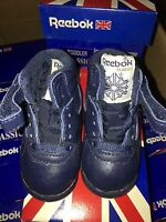 New Vintage Reebok Toddlers Classic Freestyle Hi Patent Jet Blue White Sz 2-5