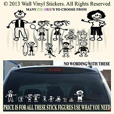 STICK FAMILY CAR VAN STICKERS COMPLETE YOU GET ALL 10!   FIGURES 1