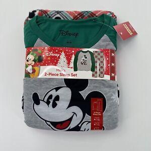 Mickey Mouse Christmas Pajamas Set Mens XL Sleep Disney NEW Flannel Pants Top