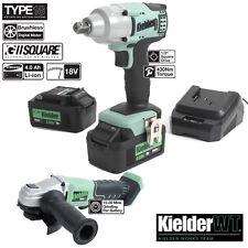 Kielder 18v 1/2 Cordless Impact Work Wrench & Angle Grinder  2x 4.0Ah Li-Ion