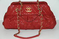 12P NEW CHANEL CLASSIC Red Iredescent Leather BOWLING SAC TOTE BAG Gold HW