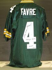 Brett Favre Autographed/Signed Green Bay Packers Reebok Jersey Career Stats /444