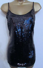 Next Ladies Black Sequin Sparkly Strappy Evening Party Blouse Top Size 6 New