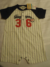 CARTERS Baby Boys 12 Month One Piece Outfit Baseball Stripe Romper NWT