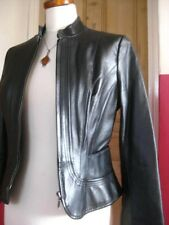 Ladies NEXT Black Leather Biker Racer Jacket coat size UK 12 10 cavalry military