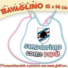 Bavetta Bavaglino Bambino Neonato personalizzabile Collezione Calcio Sampdoria -