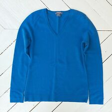 ANN TAYLOR 100% Cashmere Azure Blue Long Sleeve V-neck Sweater Women's Small XS