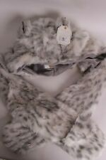 NWT Pottery Barn PB Teen Faux Fur scarf hat, gray snow leopard