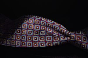 Brooks Brothers English Silk Woven Ruby Red Blue Gold Stamp Mosaic Silk Tie NR