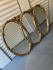 Large vintage triple oval gold mirror tri circles Hollywood Regency decor Ornate