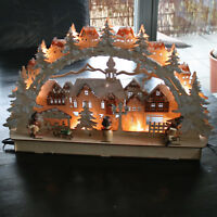 "3D LED Holz-Leuchter Schwibbogen Lichterbogen ""Stadt mit Winterkindern"" Holz"