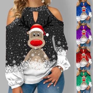 Womens Shirt Tee Cold Shoulder Ladies Blouse Elk Xmas Sweatshirt Christmas Tops
