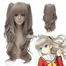 Charlotte Nao Tomori 65cm Cosplay Anime Fasching Perücke Wig Grau +2ponytail Neu