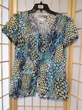 Como Womens Stretch Animal Print Blouse Top Sz M Button Front