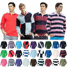 Mens Long Sleeve Plain Rugby Shirt Stripe Striped Diagonal Harlequin Cotton Top