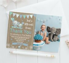 10 Personalised 1st Birthday Elephant Thank You Photo Cards Christening Birthday