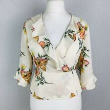 TOPSHOP Ivory Floral Wrap Top Ruffle Blouse Size 10 Immaculate (C1)