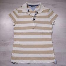 Ladies TOMMY HILFIGER Striped Vintage Designer Polo Shirt T-Shirt Large #B3035