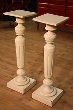 Coppia di colonne in legno laccato mobili tavolini tavoli stile antico vintage