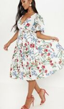 Floral Spring Wrap Pleated Midi Dress