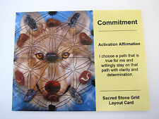 COMMITMENT Grid Card Crystal Healing Cardstock 4x5inch ANIMAL TOTEM WOLF