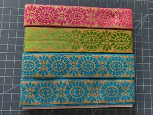 """NEW Gold Floral REVERSABLE Jacquard/Woven Ribbon - in Pink, Blue, Green - 1 1/2"""""""