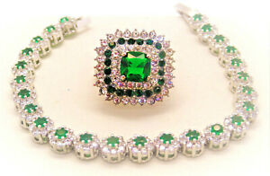 emerald ring, bracelet jewelry set sterling silver, ring sz 8 WITH FREE EARRINGS