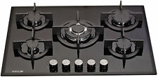 MILLAR GH7051PB 5 Burner Built-in Gas on Glass Hob 70cm - Cast Iron Stands & Wok