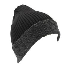 Croft & Barrow Men's Black Grey Trim Knit Winter Hat Beanie NEW $20
