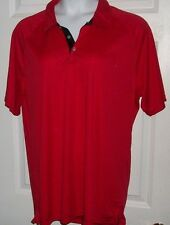NWT RED POLO SHIRT A4 XL short sleeve SPLIT HIP SOFT RIBBED TEXTURE BLOUSE TOP