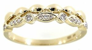0.12 Carat Real Round Cut Diamond Fancy Unique Fine Ring Jewelry 14K Yellow Gold