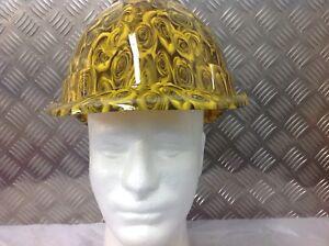 yellow safety hard hat / helmet - rose design- fully BS EN397 compliant