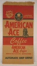 1 Vintage AMERICAN ACE Coffee BAG General Store Aviation Advertising Man Cave