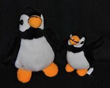 Peluche doudou pingouin & petit DANIEL JOUVANCE noir blanc orange 18 -12 cm TTBE