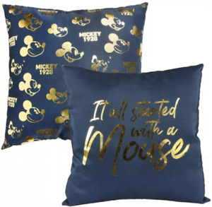 Disney Mickey Mouse Metal Squared Blue & Gold Cushion 40 x 40cm It All Started