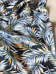"Multicolour Tropical Leafs 100% Cotton Poplin Fabric ..width 44"" Price 1 Meter"