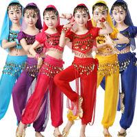 6pcs Kids Oriental Belly Dancing Costume Girls Indian Arabian Performance Set