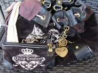 JUICY COUTURE BLACK VELOUR SCARF LOOP BAG/PURSE WITH WALLET
