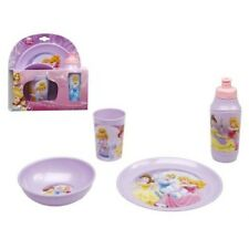 Disney Princess 4 Piece Dinner Set Plate Bowl Cup and Drinking Bottle