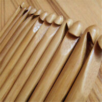 12Pcs Crochet Hook Bamboo Wooden Handle Knitting Needles Yarn Sewing 3-10mm Tool