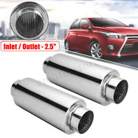 2x 2.5'' In/Outlet 4'' x 10'' Exhaust Muffler Silencer Tail Pipe Resonator Box