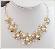 Bezauberndes Perlen Collier mit Strass, festliche Statement Perlenkette_Geschenk
