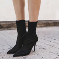 Women Elastic Sock Ankle Boots Knitted High Stiletto Heel Pointed Toe Shoes Size